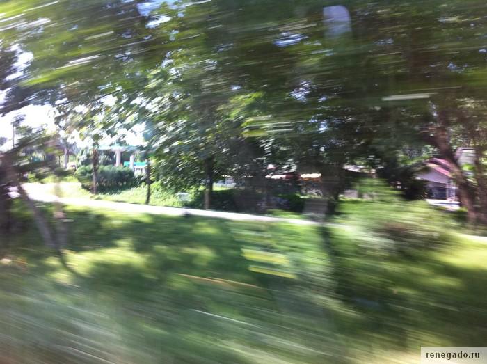Вид из окна микро-баса на скорости 120 км. час, содержательная экскурсия!